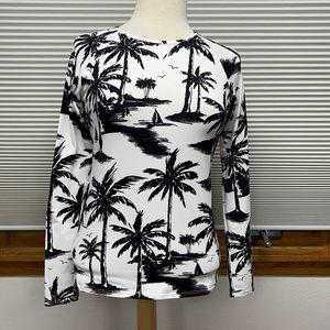 Tommy Bahama Palm Tree Print Rash Guard Swim Top